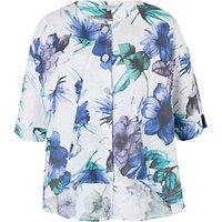 Chesca Print Linen Jacket, White/Blue