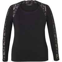 Chesca Lace Trim Long Sleeve T-Shirt, Black