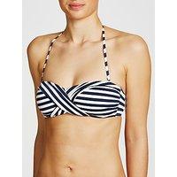 John Lewis Textured Mini Stripe Bandeau Bikini Top, Navy/White