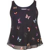 Chesca Small Butterfly Print Camisole, Black/Multi
