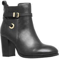 Carvela Stacey Buckle Strap Ankle Boots, Black Leather
