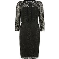 Gina Bacconi Floral Cord Embroidery Dress And Jacket, Black