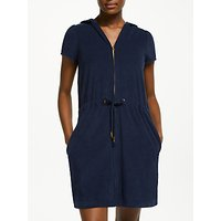 John Lewis & Partners Zip Towelling Dress, Navy