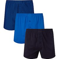 John Lewis & Partners Organic Jersey Cotton Double Button Boxers, Pack of 3, Navy