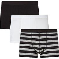 John Lewis Organic Cotton Hipster Trunks, Pack of 3, Black/White
