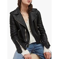 AllSaints Leather Balfern Biker Jacket, Black