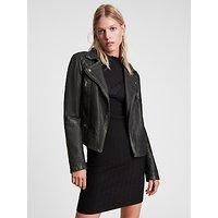 AllSaints Leather Cargo Biker Jacket, Black/Grey