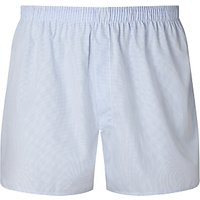 Sunspel Gingham Woven Cotton Boxers, Blue