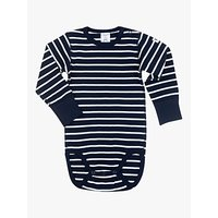 Polarn O. Pyret Baby Stripe Long Sleeve Bodysuit, Blue