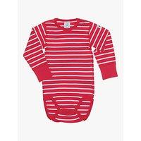 Polarn O. Pyret Baby Stripe Long Sleeve Bodysuit, Red