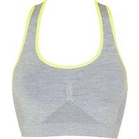 John Lewis Sports Crop Top, Grey Marl Neon Yellow