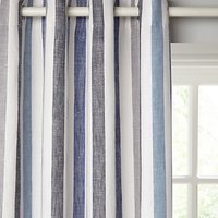 John Lewis and Partners Penzance Stripe Pair Lined Eyelet Curtains, Blue