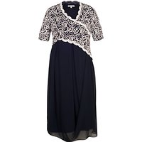 Chesca Embroidered Scallop Dress, Navy/Ivory