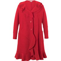 Chesca Flounce Trim Wool Coat, Red