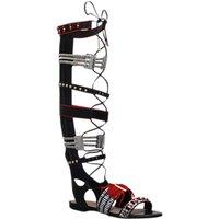 shop for Kurt Geiger Dakota Knee High Sandals, Black/Red Leather at Shopo