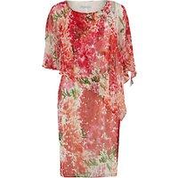 Gina Bacconi Watercolour Chiffon Dress With Cape, Multi