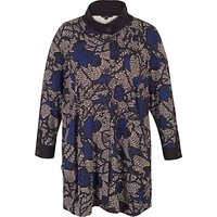 Chesca Printed Jersey Coat, Blue/Multi