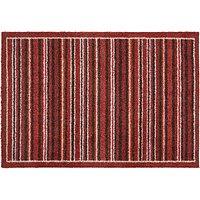 John Lewis Washable Doormat, Red Stripe