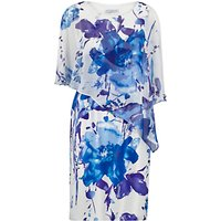 Gina Bacconi Printed Chiffon And Satin Dress, Lilac/Blue