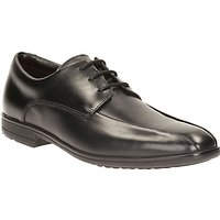 Clarks Childrens Willis Lad Lace-Up Leather School Shoes, Black