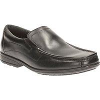 Clarks Childrens Greinton Go Leather Slip-On School Shoes, Black