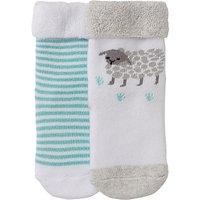 John Lewis Baby Lamb Socks, Pack of 2, White/Multi