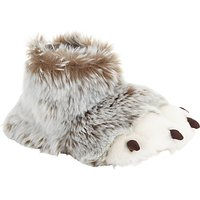 John Lewis 3D Claw Boot Slippers, Brown/White