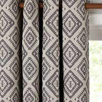 John Lewis and Partners Native Weave Pair Lined Eyelet Curtains, Steel