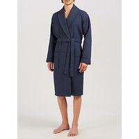 John Lewis and Partners Pure Cotton Waffle Robe, Navy