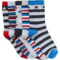 John Lewis Nautical Stars Socks, Pack of 5, Multi