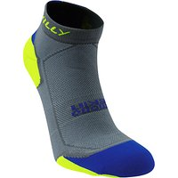 Hilly Lite Cushion Running Socks, Grey/Yellow