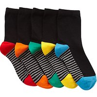 John Lewis & Partners Girls' Contrast Heel Socks, Pack of 5, Black