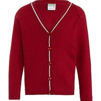 Highclare School Junior Girls Cardigan, Red/White