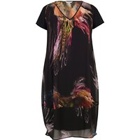 Chesca Feather Print Dress, Black
