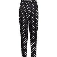 French Connection Spot Cotton Trousers, Black/Winter White