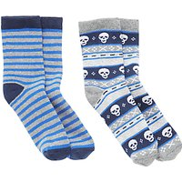 John Lewis Childrens Skull Stripe Thermal Socks, Pack of 2, Multi