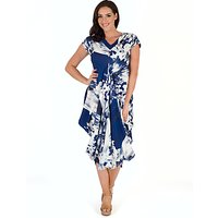Chesca Abstract Block Floral Dress, Blue/White
