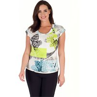 Chesca Fern And Floral Jersey Top, Turquoise/Lime