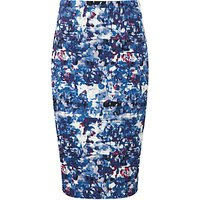 Pure Collection Dalby Pencil Skirt, Blue Abstract Print