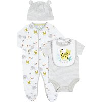 John Lewis Baby Elephant Sleepsuit, Bodysuit, Bib and Hat Set, White