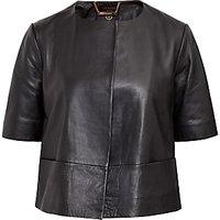 Ted Baker Short Sleeve Leather Jacket, Black