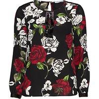 Gina Bacconi Sequin Trim Rose Crepe Georgette Blouse, Black/Red