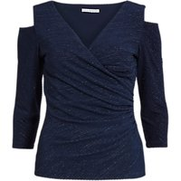 shop for Gina Bacconi 3D Metallic Stripe Knitted Top, Dark Blue at Shopo
