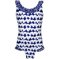 John Lewis Girls Heart Print Swimsuit, Royal Blue