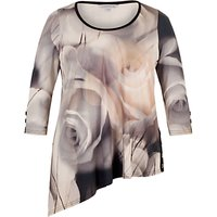 Chesca Misty Rose Asymmetric Tunic Top, Grey/Nude