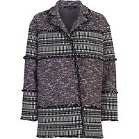 French Connection Pixel Coat, Black Multi