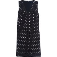 French Connection Diamond Drop Jersey Dress, Black/Diamante