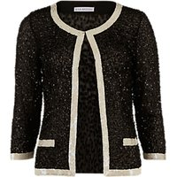 Gina Bacconi Sequin Jacket With Contrast Bands, Black/Cream