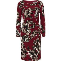 Gina Bacconi Etched Floral Crepe Georgette Dress, Claret