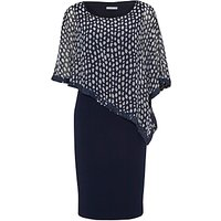 Gina Bacconi Dress With Printed Chiffon Cape, Spring Navy